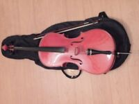 1/2 sized cello with bow and case ( ideal for beginner)