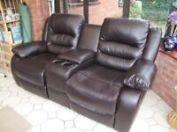 2 seater reclining sofa with cup holders and centre console storage