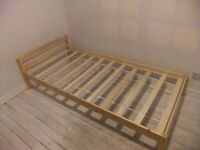 SINGLE WOODEN PINE BED WITH MEMORY FOAM MATTRESS