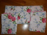 Cath Kidston Style Double Duvet Cover Set Pink White Roses Polkadots Great Condition