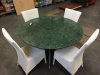 Marble table and 4 Lloyd Loom chairs