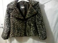Girls blue zoo faux fur jacket age 10