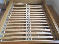 Ikea wooden double bed base with Mattress