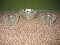 Three Cut Glass Nibbles/Sugar Bowls for £2.00