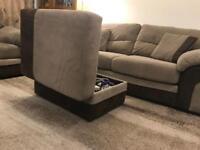 3 seater Heath sofa + armchair + storage footstool. Pet free and smoke free flat