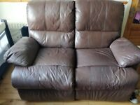 2 seater leather recliner £200