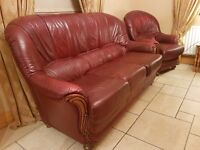6ft 3-Seater Leather Sofa PLUS 2 Identical Armchairs - Used but in very good condition