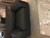 Leather sofa, snuggle chair and footstool