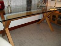 Solid Oak frame/Glass top Dining table & chairs