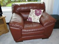Brown Leather three seater Sofa and chair made by DFS - Excellent Condition