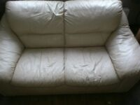 2x2 cream leather sofas for sale