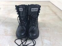 Black Leather Cadet boots Size 9