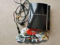 Playstation 3 60gb Bundle; 10 games, 1 controller (no lead)