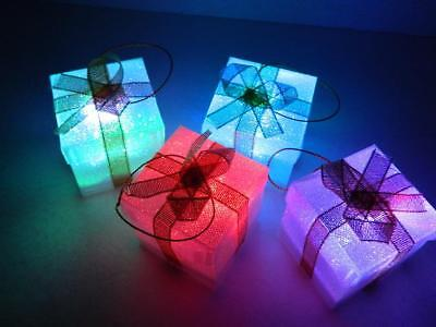 Xmas Gift Ornaments LED Color Changing Lights Prismatic Gold Ribbons Boxes Set/4