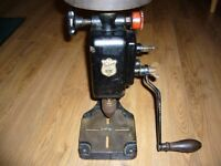 IXION VERTICAL MOUNTED TWO SPEED HAND OPERATED DRILL WITH FLYWHEEL AND BASE