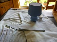 BOYS BEDROOM CURTAINS & LAMP// COLOUR BLUE 66''X54'' - GOOD CLEAN CONDITION