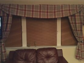 Specially made tartan curtains with swag and 4 cushion covers