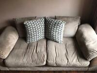 Brown fabric sofas one two seater, one three seateer