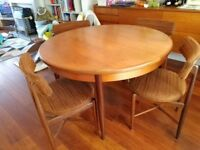 Vintage 1970's mid century G-Plan extendable dining table and chairs set