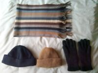 WOOL GLOVES + HAT + SCARF MENS THICK HIGH QUALITY