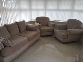 3 Seater Sofa and 2 Chairs, excellent condition. £250 ono.