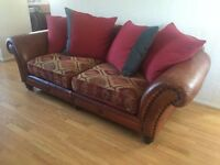 TETRAD LEATHER AND FABRIC EASTWOOD MIDI 3 SEATER SOFA ( delivery )