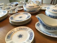 Coalport 'Revelry' blue & white dinner service, 49 pieces, excellent condition