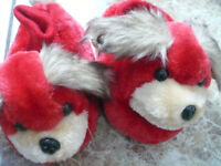 Red puppy slippers (new)