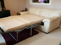 Cream Leather suite (IKEA) 3 seater sofabed, 2 seat sofa (+ separate) Ekornes recliner chair/stool
