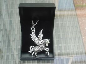 Stunning Pegasus Flying Horse Necklace In a Black Gift Box