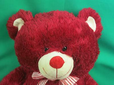 Big Ruby Red Valentine Be Mine Velvety Heart Teddy Bear Shaggy Soft Plush Sweet