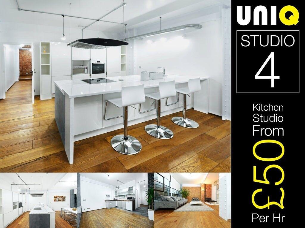 Lifestyle Modern White Kitchen Food Cooking Set Photo Video Studio