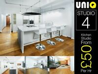 Lifestyle Modern White Kitchen Food Cooking Set Photo Video Studio Hire Location Canary Wharf London