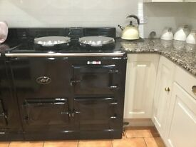 AGA, black 2 oven, gas fired, powered flue AGA.