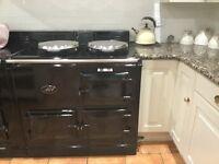 AGA, black 2 oven, gas fired, powered flue AGA.