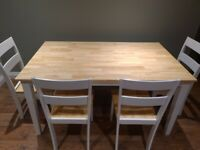 150cm Oak and White Dining Table Set with Bench and Chairs
