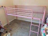 Girls pink captain bed with mattress & protector