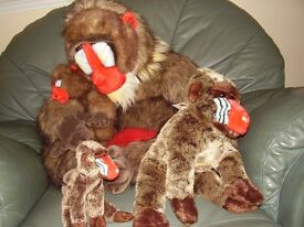 soft toy monkeys 3 sizes all mandrill in this collection but more on request including ornament