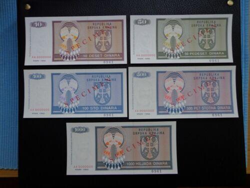 SAO KRAJINA banknotes 1992 SPECIMEN UNC