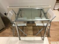 Extendable Glass Dining Table with Two Foldable Matching Chairs