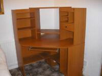 Teak wooden corner desk unit