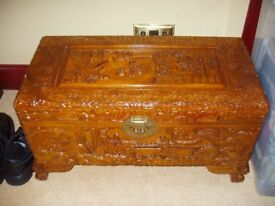 Antique style, heavily carved, Camphor Chest