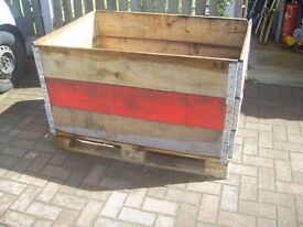 Wooden pallet with 3 collars excellent condition ideal original use/ planter /compost bin etc