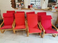 8x IKEA Poäng Chairs - Red - Good Condition - Poang Chairs
