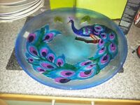 Large peacock glass plate