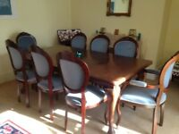Large Mahogany Dining Room Table & 8 Chairs