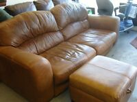 Tan Brown Aniline Leather 3 Seater Sofa Settee and Ottoman Footstool