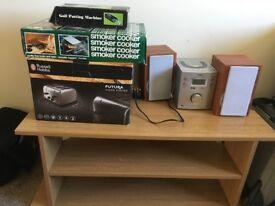 Various Items Toaster, HIFI, Smoker BBQ