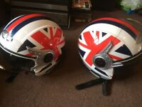 Viper vs open faced retro CAFE RACER matching helmets large/ small fabulous used once