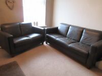 Three seater and two seater brown leather sofas in very good condition.